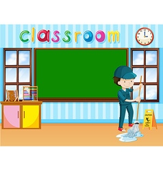 Janitor cleaning classroom vector