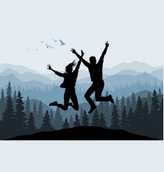 jumping people silhouettes on forest background vector image