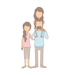 Light color caricature faceless family with mother vector