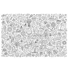 Line art set of summer objects vector image