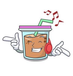 Listening music bubble tea mascot cartoon vector