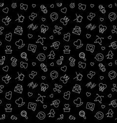 love outline dark seamless pattern for vector image