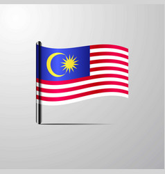 malaysia waving shiny flag design vector image