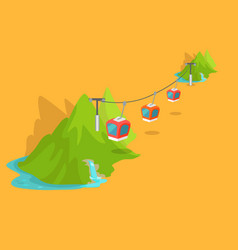 Maokong mountain cableway in taiwan graphic icon vector