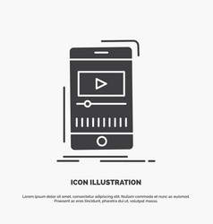 media music player video mobile icon glyph gray vector image
