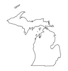 Michigan mi state border usa map outline vector