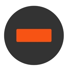 Minus flat orange and gray colors round button vector