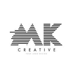 Mk m k zebra letter logo design with black and vector