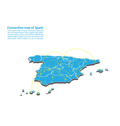 Modern of spain map connections network design vector