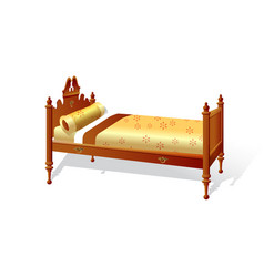 old wooden bed on white background vector image
