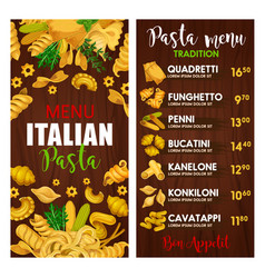 Pasta menu italian cuisine meals vector