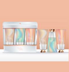 pastel abstract printed hand cream trio set vector image