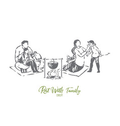 pastime with family concept sketch vector image