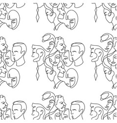people different faces line seamless pattern vector image