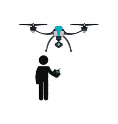 Person silhouette flying drone vector