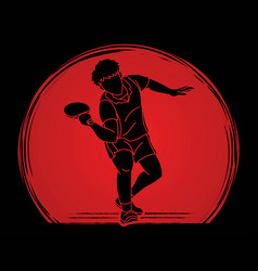Ping pong player table tennis vector