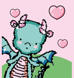 Pixel art cute dragon vector