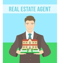 Real estate agent offers a house vector