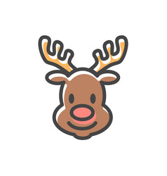 Reindeer head christmas icon vector