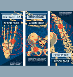 Rheumatology orthopedics and traumatology banner vector
