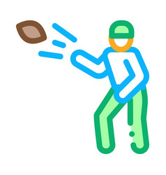 rugplayer throws ball icon outline vector image