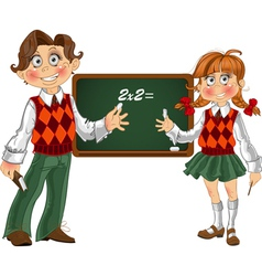 Schoolgirl and Schoolboy with a blackboard vector image