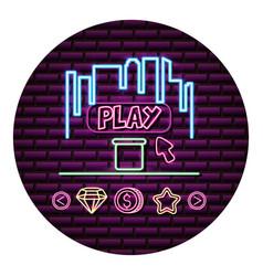 Screen play arrow neon video game wall vector