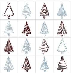 Seamless pattern with hand drawn christmas tree vector