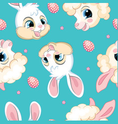 seamless pattern with heads rabbits and lambs vector image