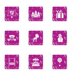 Serenity icons set grunge style vector