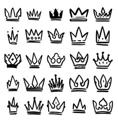 Set hand drawn crowns isolated on white vector