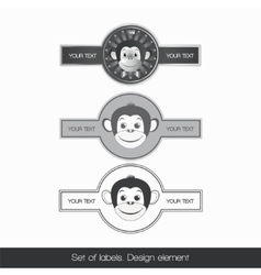 Set label with monkey 3 vector