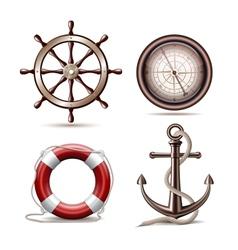 set marine symbols vector image