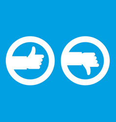 signs hand up and down icon white vector image