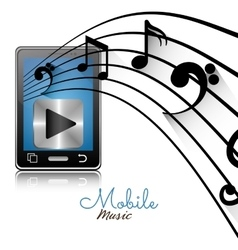 smartphone player mobile note music vector image