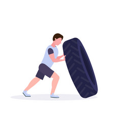 Sports man flipping a tire doing hard exercises vector