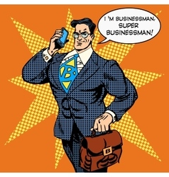 super businessman answering phone call vector image