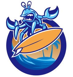 surfing crab vector image