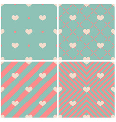 tile pattern with hearts on pink green background vector image