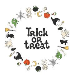 trick or treat halloween frame handdrawn vector image