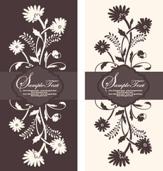 two floral invitation card vector image