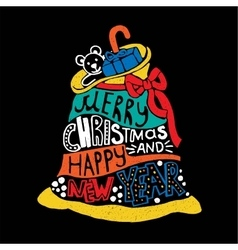 Typographic Christmas and New Year Santas Bag vector image