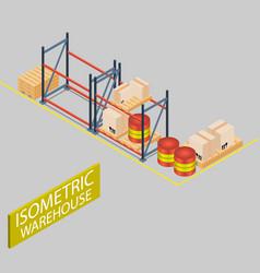 warehouse cardboard box isometric image vector image
