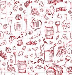 Wine sketch vintage seamles vector