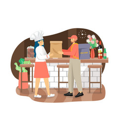 Woman giving bag with takeaway food to delivery vector