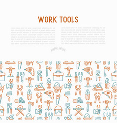 work tools concept with thin line icons vector image