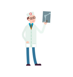 Young doctor with x-ray icon vector