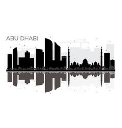 abu dhabi city skyline black and white silhouette vector image