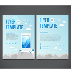 Flyer template with white smartphone vector image