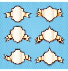 goldden labels tags ribbons vector image